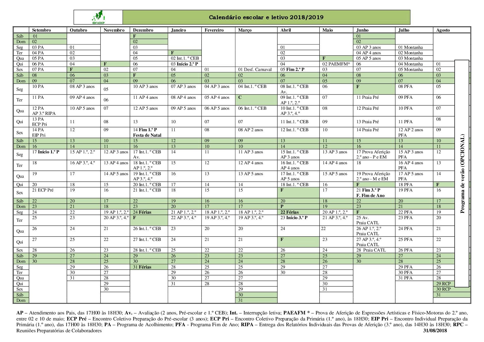 Calendário Letivo e Escolar 2018-2019